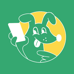 Go Car Finance dog holding a phone illustration